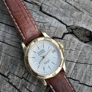 Guess Watch Yellow Gold Leather Strap Waterproof
